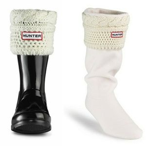 NEW Hunter Kids Moss Cable Cuff Welly Socks 1-3